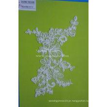 Tecido de rendas de bordado branco com pérolas Cord Cordão de tecido CMC354B