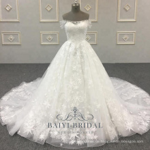 Neueste Braut eine Linie Großhandel Schulterfrei Design Brautkleider
