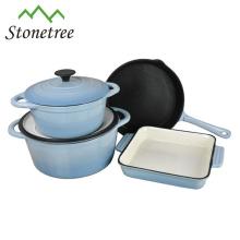 Cookware do ferro fundido da cor do esmalte 4pcs
