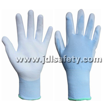 Blue Nylon Work Glove with PU Palm Coated (PN8004B)