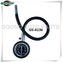 Metal Dial Type Tire Gauge with flexible hose and protective rubber casing