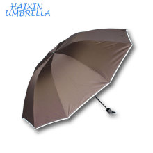 Fashion Ladies and Men Parasol Safety at Night 24 Inches Stripe Edging Reflective Custom Umbrella with Logo Printing