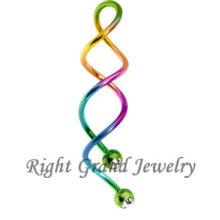 Arco iris PVD anodizado Cristal espiral ombligo piercings