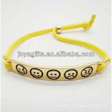 Aleación de oro de la manera con la pulsera amarilla del cable de cuero