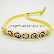 Fashion gold alloy with yellow leather cord bracelet