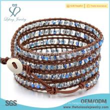 Новые браслеты богемной кожи прибытия, кожаный вышитый бисером браслет