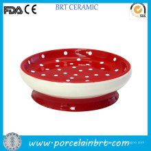 Bathroom Spotted Red Small Ceramic Soap Dish