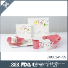 New Square 41pcs fine porcelain Dinner Set, Colored and new flower design, dinner set for 6 person