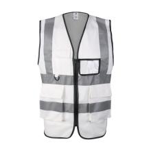 Custom Police 100% Polyester white Reflective Traffic Safety Vest with pockets