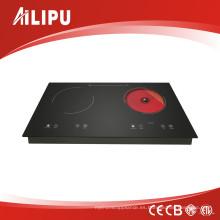 Cocina de inducción incorporada con control táctil y dos quemadores