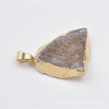 Pingente de pedra natural feito à mão, pingentes de ágata druzy existentes por atacado