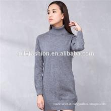 Vestido de camisola de malha 100% vestido de camisola de caxemira