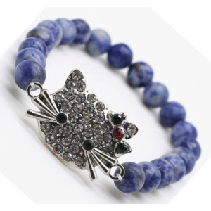 Sodalite Gemstone Bracelet with Diamante alloy cat head Piece