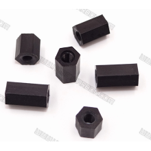 Espaçadores de nylon hexagonais de rosca preta M3