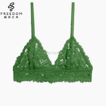 2017 Novo design Cadeia Lace Set Encaje Sexy Lingerie Malha Plu Tamanho Triangle Mulheres Custom Bralette