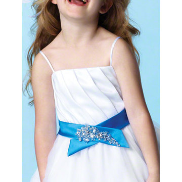 Gaun Bola Spaghetti Straps Tea-length Satin Tulle Flower Girl Dress