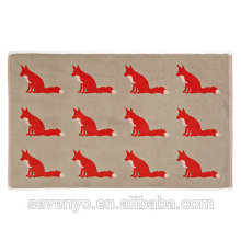 creative design red fox pattern jacquard design super absorbent bath mat BM-038