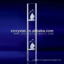 Cristal gravé par bateau de voilier de laser de K9 3D avec la forme de pilier