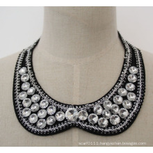 High Quality Round Crystal Chunky Bib Choker Necklace Collar (JE0032)
