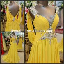 2016 Ultimate Luxury Crystal Dress V-neck Korean Dress Pleat Chiffon Open Back Evening Dress
