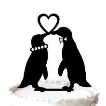 Penguins in Love Wedding Cake Topper Silhouette Love Heart Cake Topper