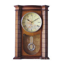ancient style wooden wall clock with pendulum