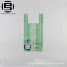 Sacos de compras de plástico barato t-shirt listrada