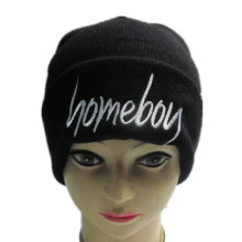 Cheap Black Embroidery Knitted Hat