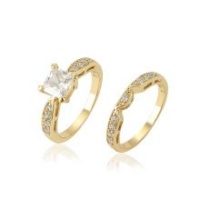 13686 xuping synthétique de la pierre précieuse synthétique de mode de cuivre anneau serti pour le couple