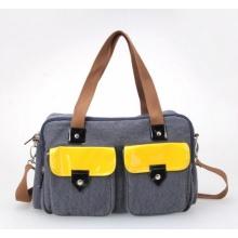 Neue Mode Kontrast Farbe Baumwolle Twill Mama Handtasche