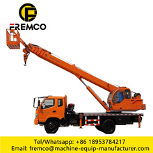 Basket Crane 8ton Truck Mounted Crane with Flatbed