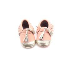 تصميم جديد الوردي الاخفاف والجلود حذاء طفل