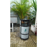 outdoor galvanized steel trash bin
