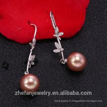 perle et 925 bijoux en argent sterling Boucle d'oreille