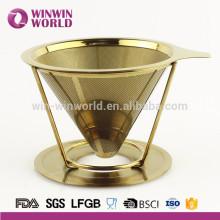 Hot seling Or peinture Verser sur acier inoxydable 304 goutteur de café en métal Filtre à café 4 tasse