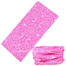 Custom Polyester Pink Paisley Printed Seamless Style Biker Ski Neck Warmer Outdoor Sports Face Mask