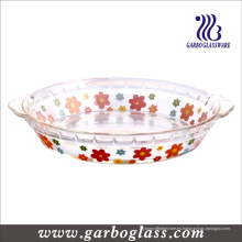 Plato de hornear de vidrio resistente al calor con calcomanía (GB13G21255 TH 002)