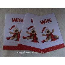 Nieve de alta calidad grabada en relieve tarjetas de regalo de felicitación de Navidad y sobre