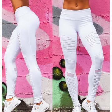 Fabrik-Soem-Gewohnheit faltete weiße Eignungs-Frauen-Yoga-Gamaschen-Sport-Hosen mit Masche