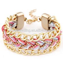 Online shop china Großhandel handgefertigte gewebte Armband Gold Kette Armband