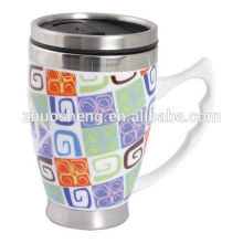 2015 new product double wall plain white ceramic mug coffee mug with handle and lid