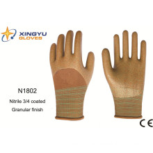 Polyester Shell Nitrile Coated Saftey Work Gloves (N1802)