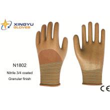 Guantes de trabajo recubiertos de nitrilo con revestimiento de poliéster (N1802)