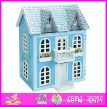 2014 nouveaux enfants en bois maison de poupée jouet, populaire enfants en bois maison de poupée, vente chaude bébé jouets, haute qualité enfants jouets W06A038