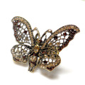 Retail/wholesale light smoke topaz Crystal Rhinestone metal butterfly Stretch rings Adjustable Fashion Ring