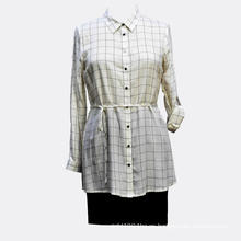 Blusa de cinturón de manga larga casual viscosa para mujer