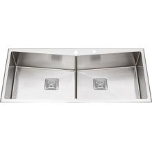 S2210 Tazón doble acero inoxidable hecho a mano lavabo