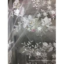 Bordado del cordón hecho a mano blanco para el vestido de boda 19