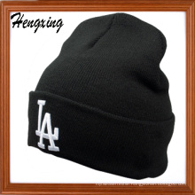 Black Knit Hat with Cotton
