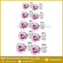 Stainless Steel Prong Set Pink CZ Crystal Earrings Jewelry